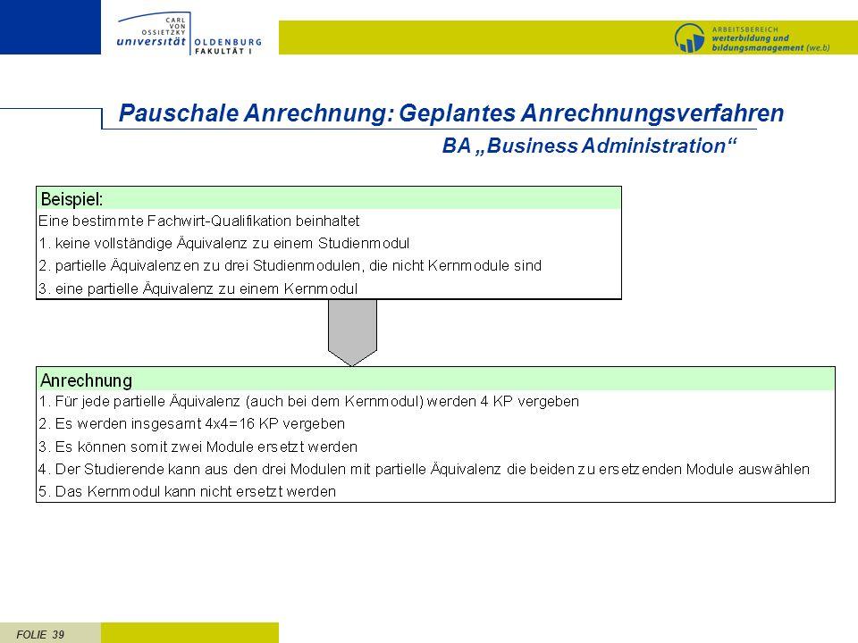 FOLIE 39 Pauschale Anrechnung: Geplantes Anrechnungsverfahren BA Business Administration