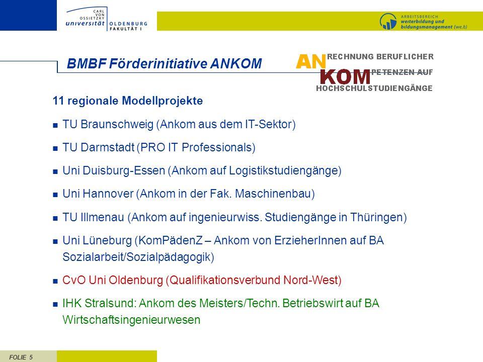 FOLIE 6 Weser-Ems/Bremen Qualifikationsverbund Nord-West IHK Ostfriesland und Papenburg IHK OL HK Bremen Uni Bremen Uni OL AN- kammer Bremen