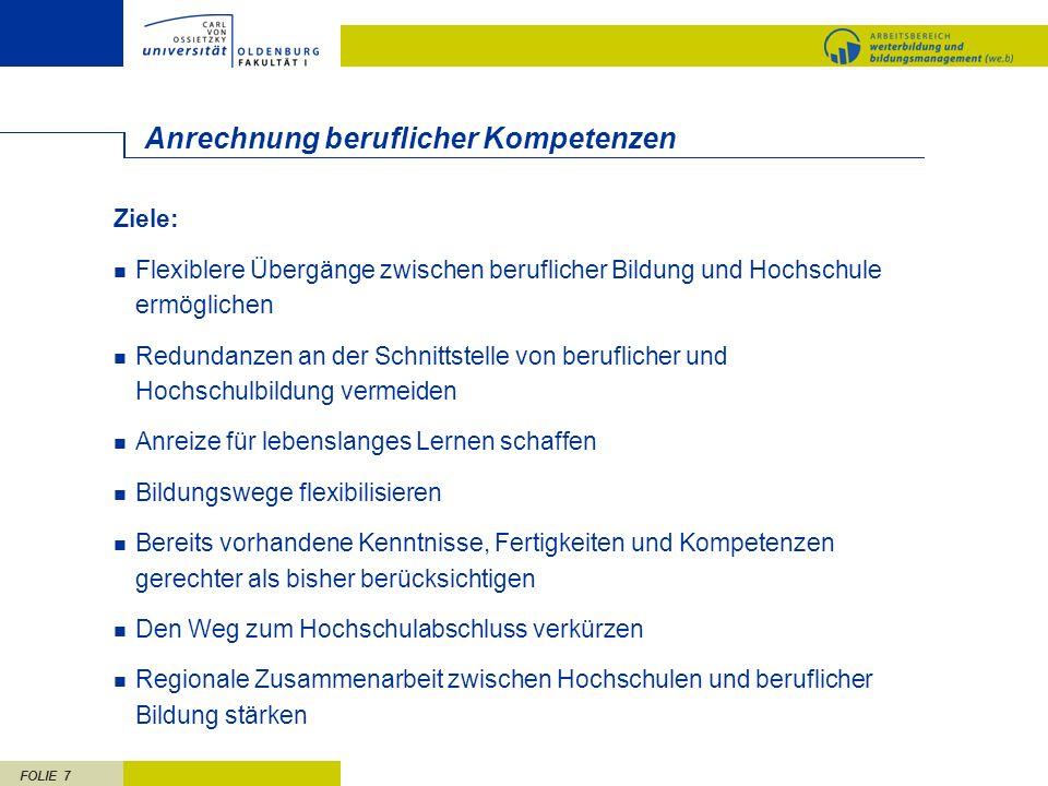 FOLIE 18 Rahmenbedingungen aufgrund europäischer Entwicklungen II Bisher: Fächer Vordiplom bestehend aus ca.