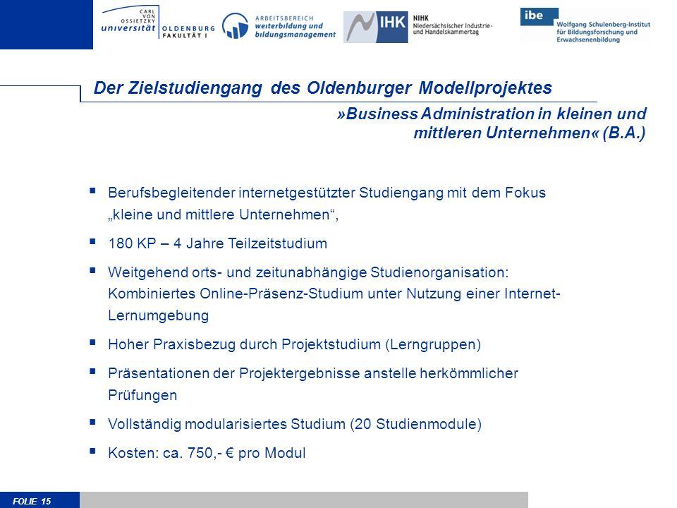 FOLIE 15 »Business Administration in kleinen und mittleren Unternehmen« (B.A.) Der Zielstudiengang des Oldenburger Modellprojektes Berufsbegleitender