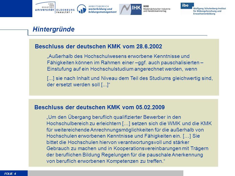 FOLIE 4 Beschluss der deutschen KMK vom 28.6.2002 Außerhalb des Hochschulwesens erworbene Kenntnisse und Fähigkeiten können im Rahmen einer –ggf. auch