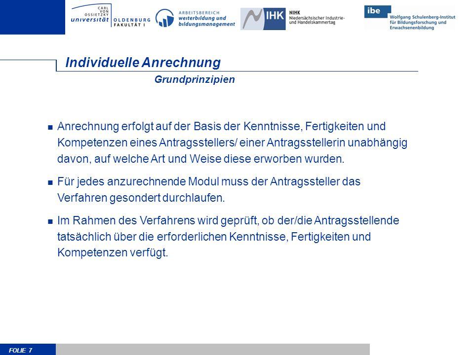 FOLIE 28 Kontakt Arbeitsbereich Weiterbildung und Bildungsmanagement Carl-von-Ossietzky-Universität Oldenburg D-26111 Oldenburg http://www.web.uni-oldenburg.de/anrechnung Dr.