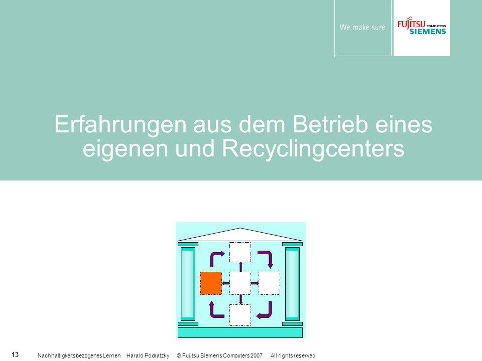 Nachhaltigkeitsbezogenes Lernen Harald Podratzky © Fujitsu Siemens Computers 2007 All rights reserved 13 Erfahrungen aus dem Betrieb eines eigenen und Recyclingcenters