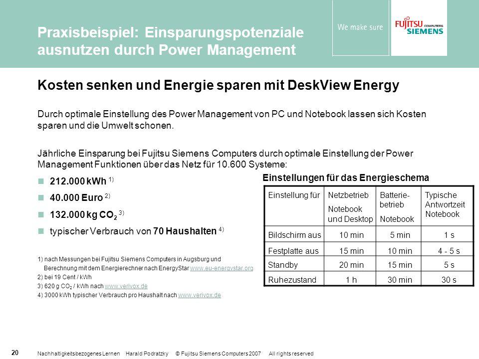 Nachhaltigkeitsbezogenes Lernen Harald Podratzky © Fujitsu Siemens Computers 2007 All rights reserved 20 Kosten senken und Energie sparen mit DeskView