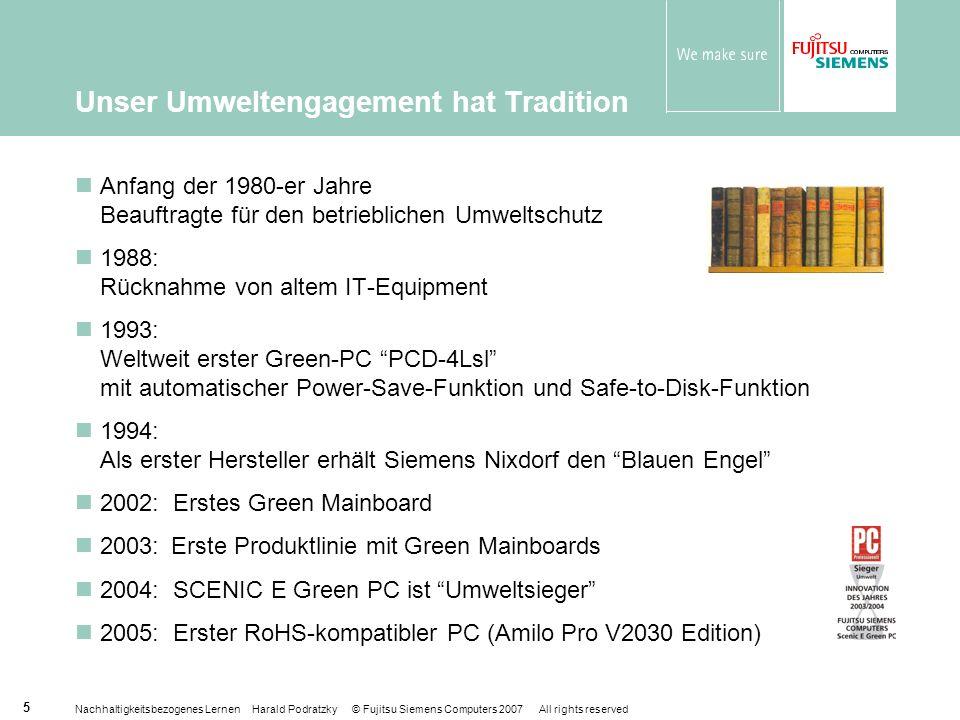 Nachhaltigkeitsbezogenes Lernen Harald Podratzky © Fujitsu Siemens Computers 2007 All rights reserved 26 Lohnt es sich, 1% zu sparen.