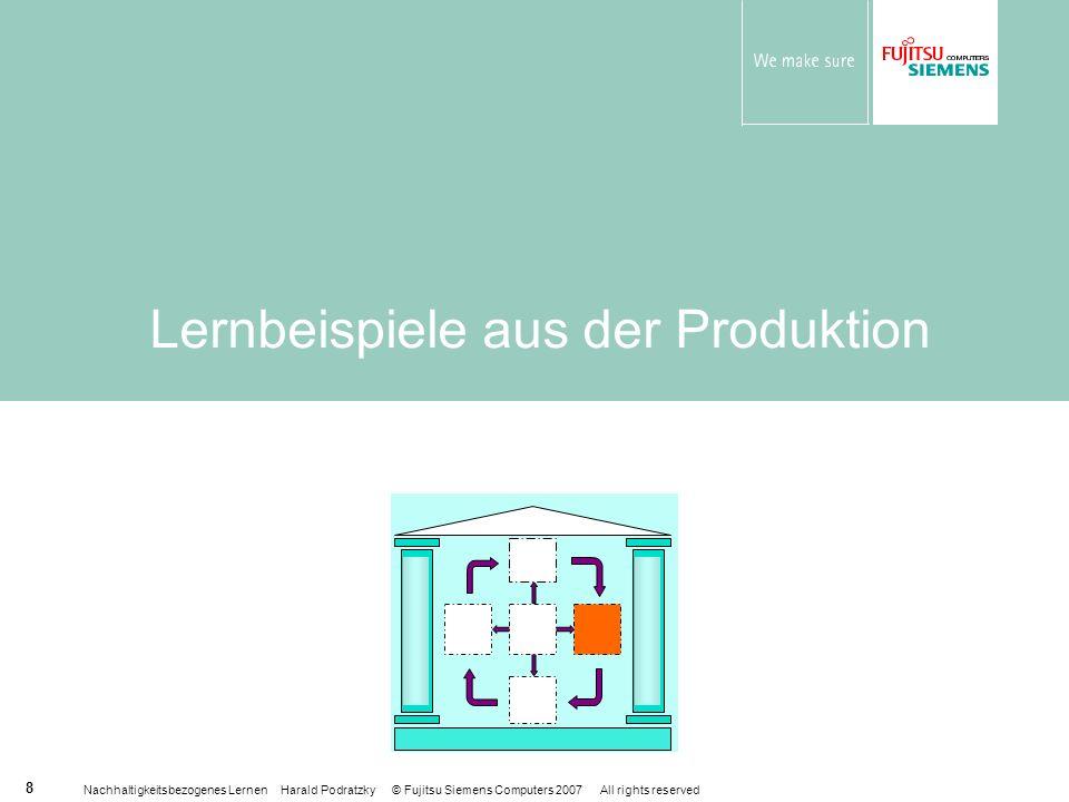 Nachhaltigkeitsbezogenes Lernen Harald Podratzky © Fujitsu Siemens Computers 2007 All rights reserved 8 Lernbeispiele aus der Produktion