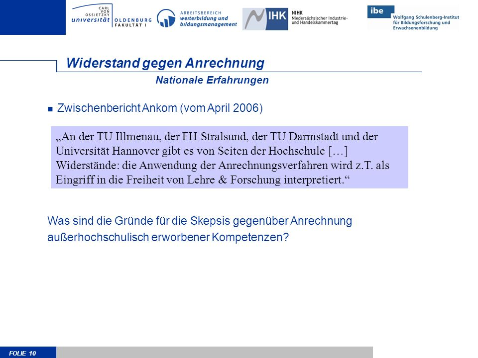FOLIE 10 Widerstand gegen Anrechnung Zwischenbericht Ankom (vom April 2006) Nationale Erfahrungen An der TU Illmenau, der FH Stralsund, der TU Darmsta