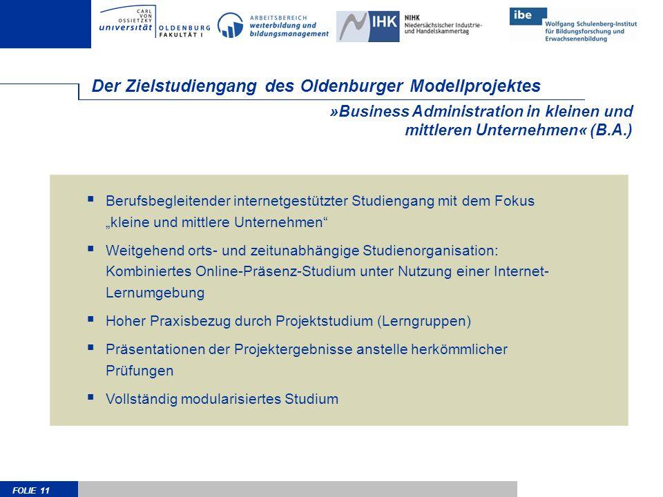 FOLIE 11 »Business Administration in kleinen und mittleren Unternehmen« (B.A.) Der Zielstudiengang des Oldenburger Modellprojektes Berufsbegleitender