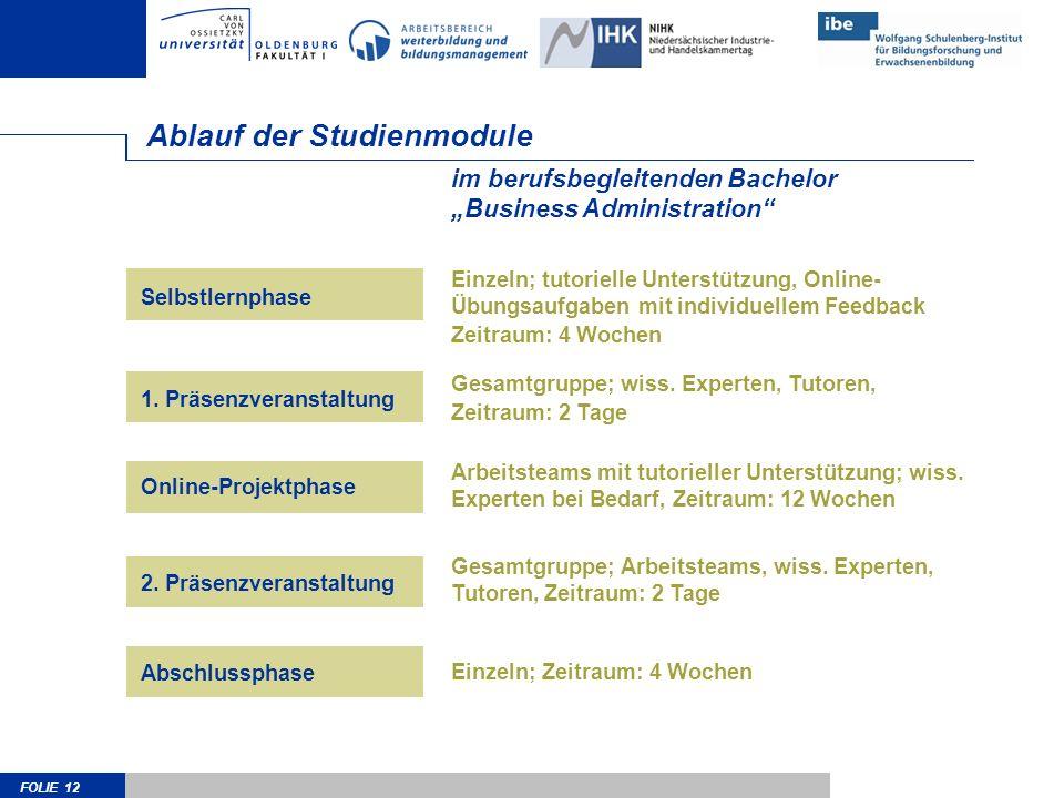 FOLIE 12 Ablauf der Studienmodule Einzeln; tutorielle Unterstützung, Online- Übungsaufgaben mit individuellem Feedback Zeitraum: 4 Wochen Gesamtgruppe