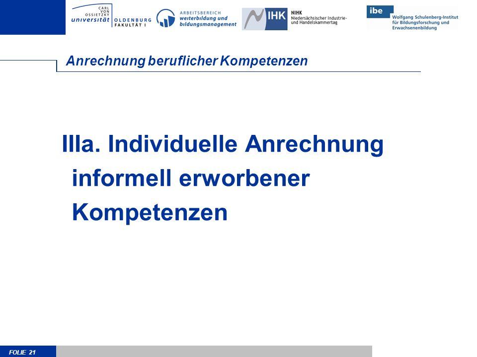 FOLIE 21 Anrechnung beruflicher Kompetenzen IIIa. Individuelle Anrechnung informell erworbener Kompetenzen