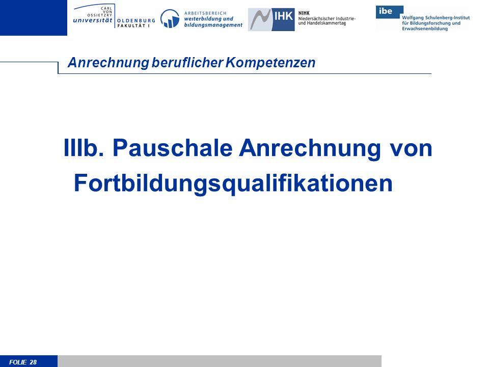FOLIE 28 Anrechnung beruflicher Kompetenzen IIIb. Pauschale Anrechnung von Fortbildungsqualifikationen