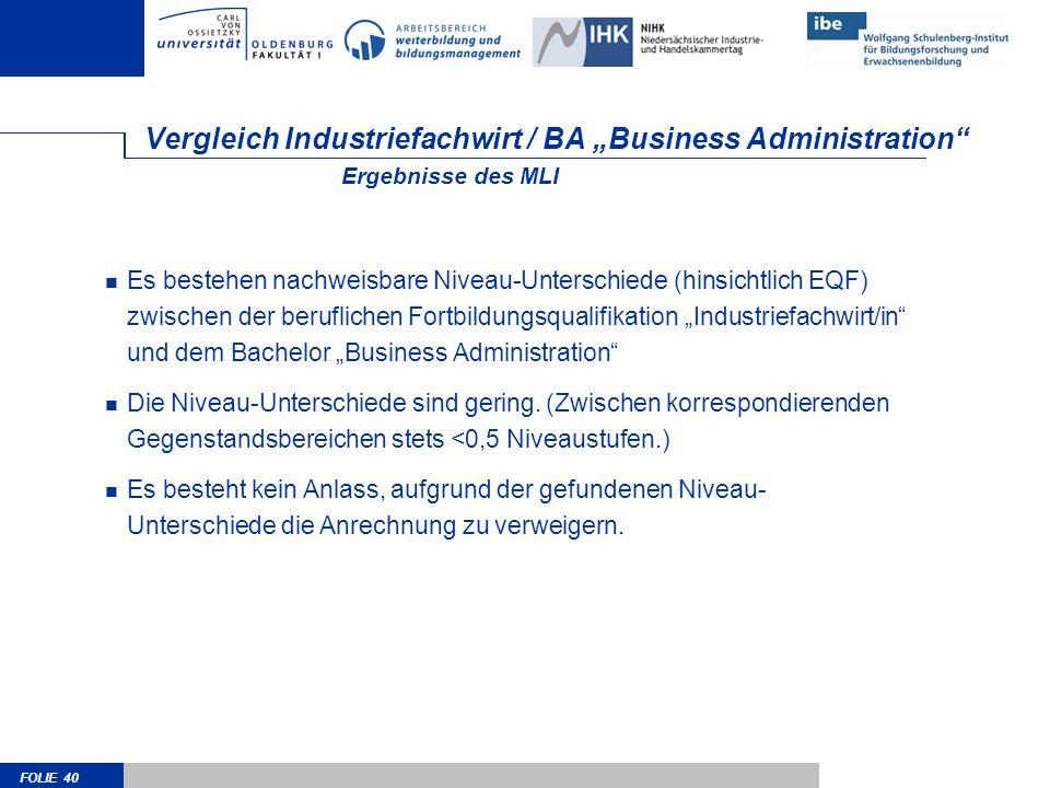 FOLIE 40 Vergleich Industriefachwirt / BA Business Administration Es bestehen nachweisbare Niveau-Unterschiede (hinsichtlich EQF) zwischen der berufli