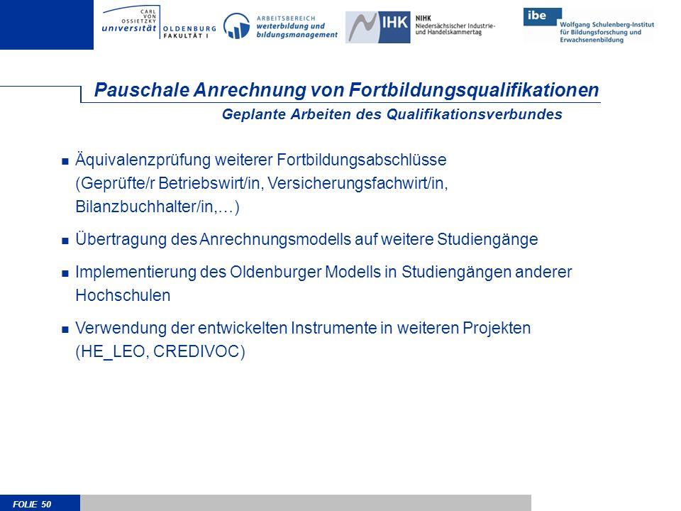 FOLIE 50 Pauschale Anrechnung von Fortbildungsqualifikationen Äquivalenzprüfung weiterer Fortbildungsabschlüsse (Geprüfte/r Betriebswirt/in, Versicher