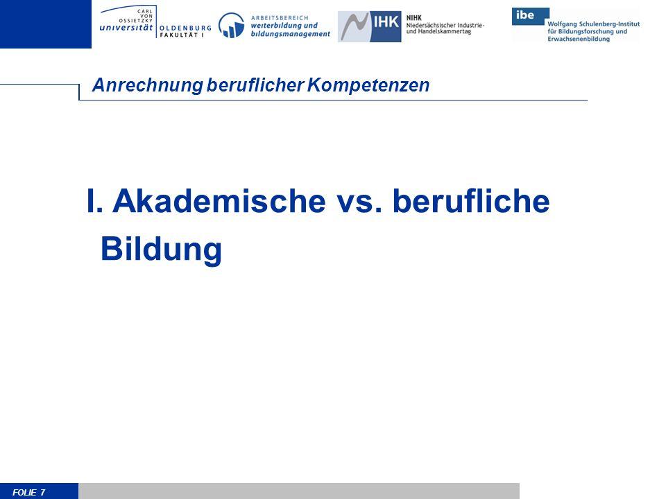 FOLIE 7 Anrechnung beruflicher Kompetenzen I. Akademische vs. berufliche Bildung