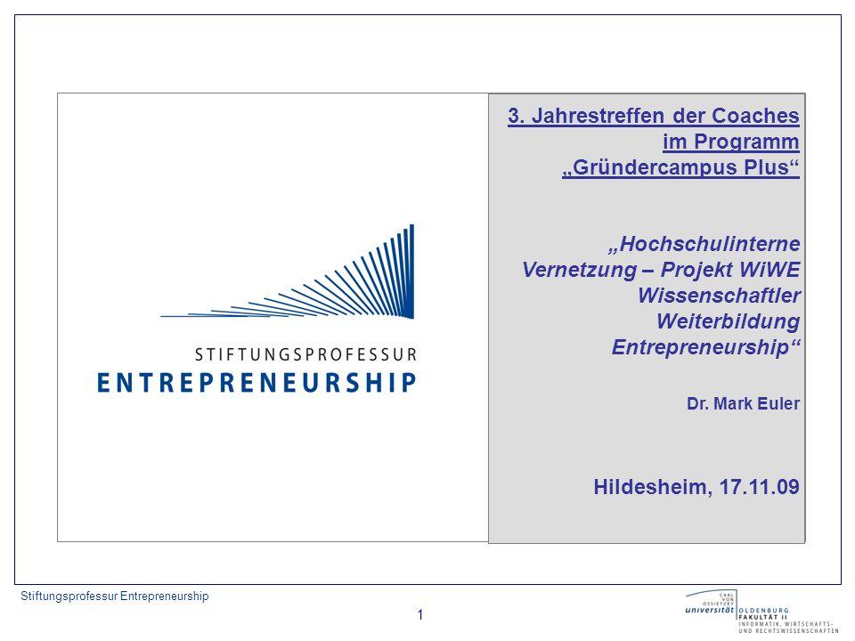 Stiftungsprofessur Entrepreneurship 2 Gliederung 1) Ausgangssituation 2) Netzwerkanalyse mittels Datenbank Kompetenzpool 3) WiWE Wissenschaftler Weiterbildung Entrepreneurship