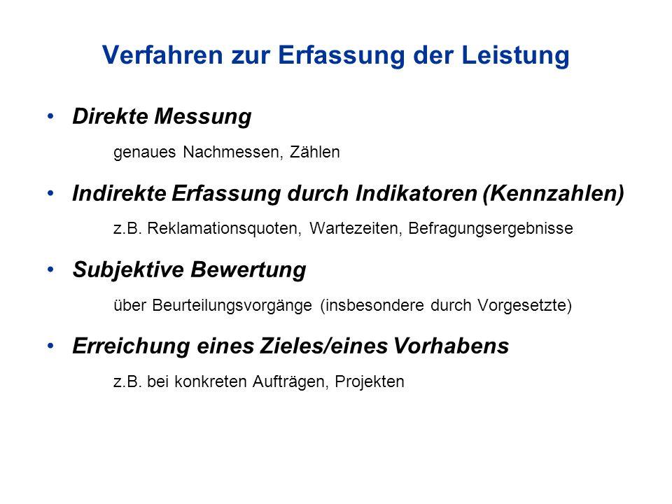 Verfahren zur Erfassung der Leistung Direkte Messung genaues Nachmessen, Zählen Indirekte Erfassung durch Indikatoren (Kennzahlen) z.B.