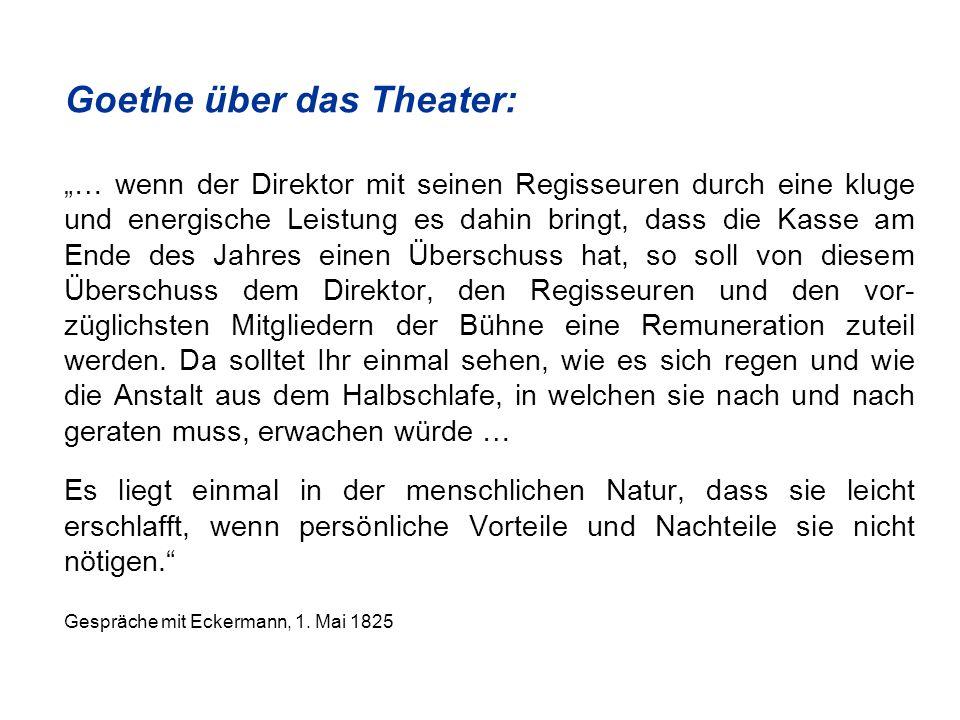 Goethe über das Theater: … wenn der Direktor mit seinen Regisseuren durch eine kluge und energische Leistung es dahin bringt, dass die Kasse am Ende des Jahres einen Überschuss hat, so soll von diesem Überschuss dem Direktor, den Regisseuren und den vor- züglichsten Mitgliedern der Bühne eine Remuneration zuteil werden.