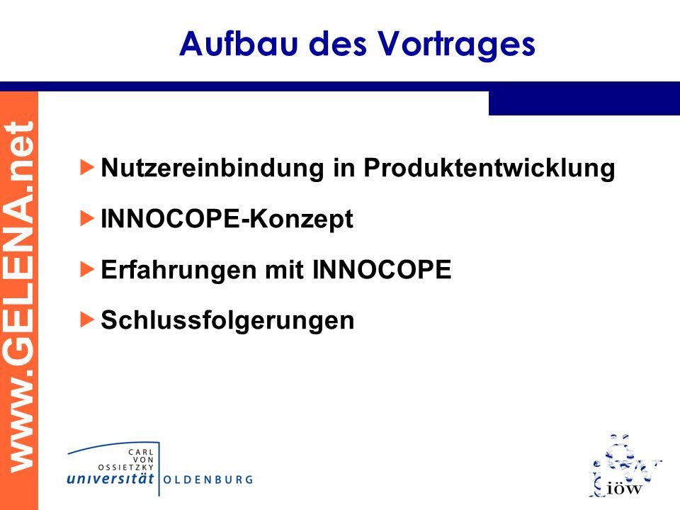 www.GELENA.net Aufbau des Vortrages Nutzereinbindung in Produktentwicklung INNOCOPE-Konzept Erfahrungen mit INNOCOPE Schlussfolgerungen