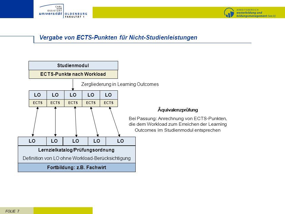 FOLIE 7 Vergabe von ECTS-Punkten für Nicht-Studienleistungen Fortbildung: z.B. Fachwirt Zergliederung in Learning Outcomes Studienmodul ECTS-Punkte na