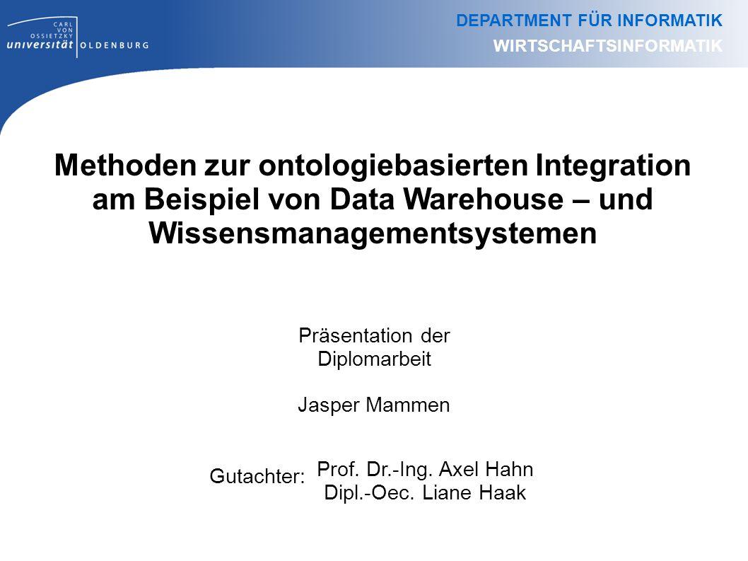 Methoden zur ontologiebasierten Integration am Beispiel von Data Warehouse – und Wissensmanagementsystemen Präsentation der Diplomarbeit Jasper Mammen