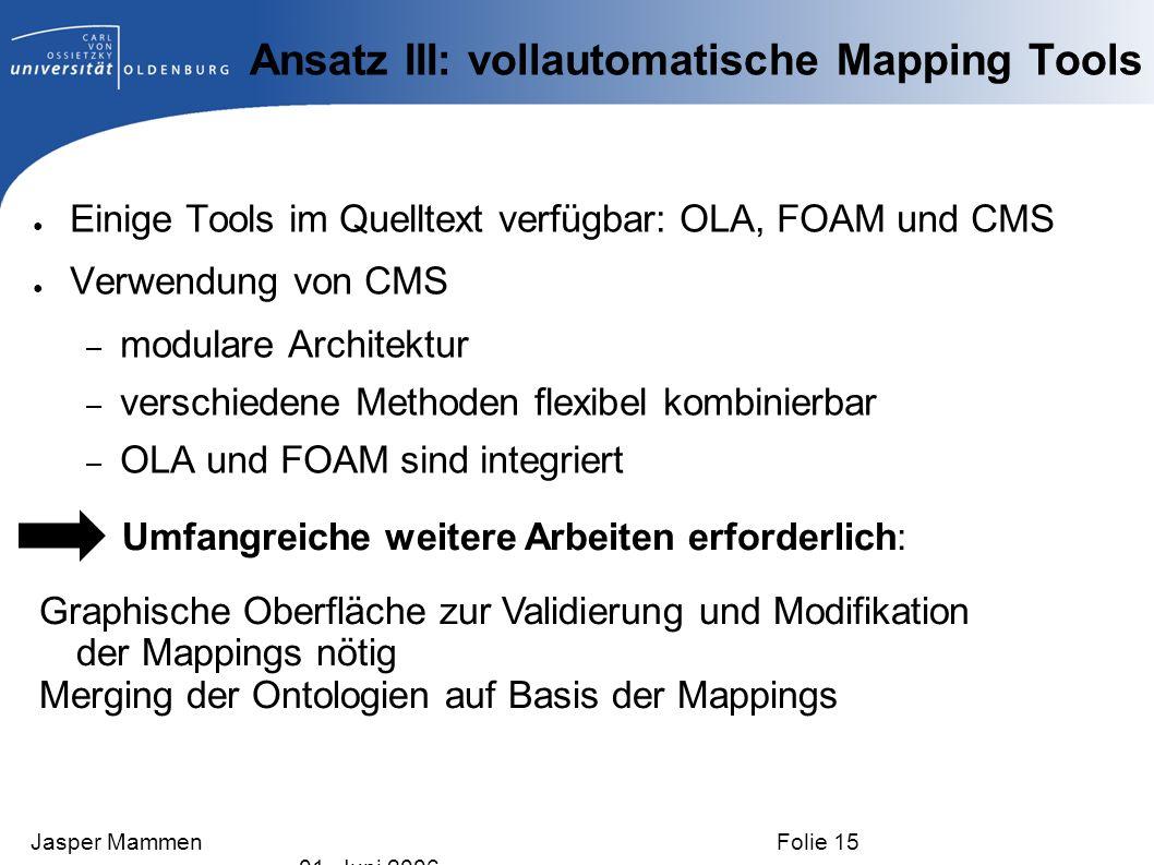Ansatz III: vollautomatische Mapping Tools Einige Tools im Quelltext verfügbar: OLA, FOAM und CMS Verwendung von CMS – modulare Architektur – verschie