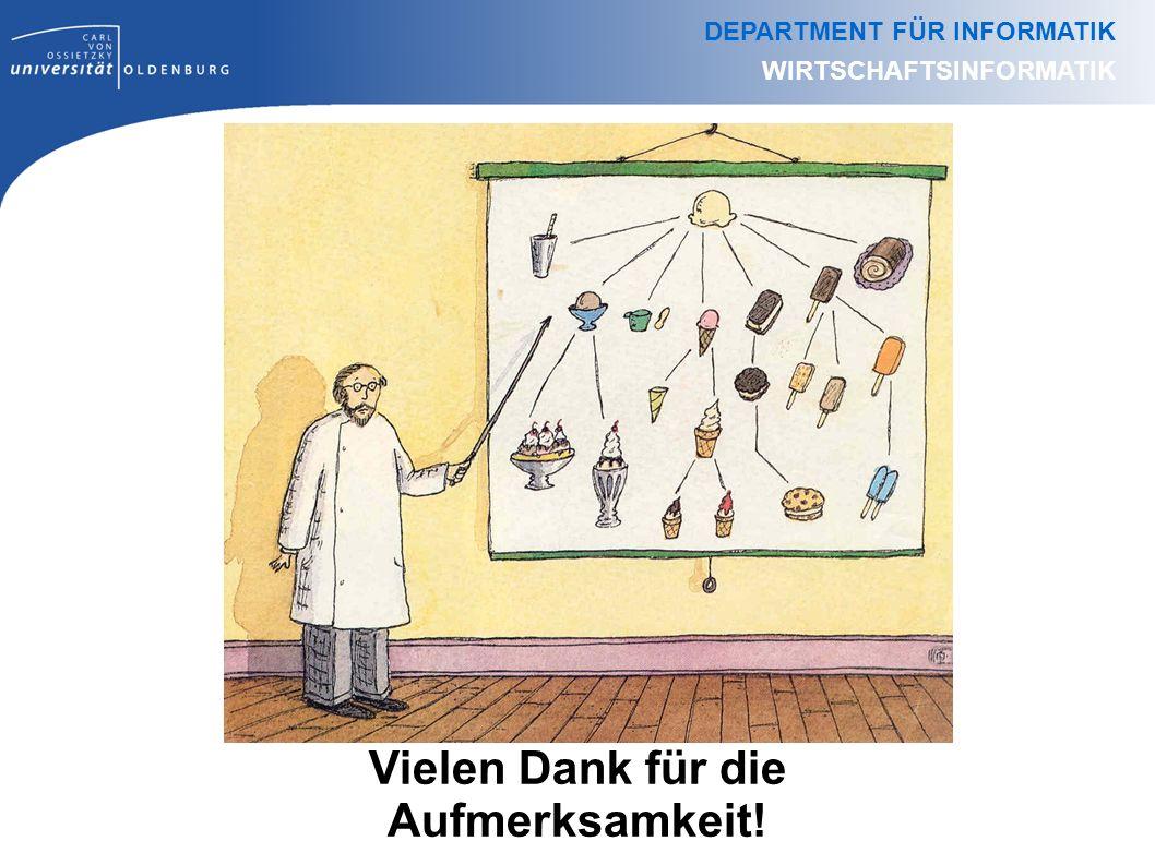 Vielen Dank für die Aufmerksamkeit! DEPARTMENT FÜR INFORMATIK WIRTSCHAFTSINFORMATIK