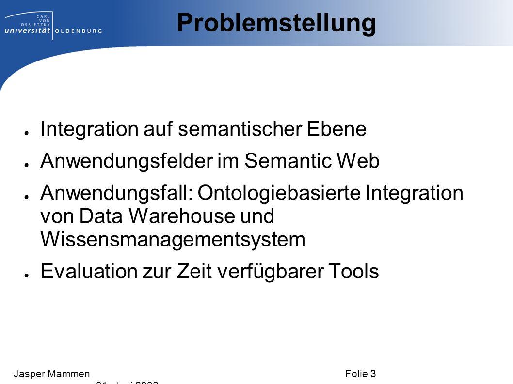 Problemstellung Integration auf semantischer Ebene Anwendungsfelder im Semantic Web Anwendungsfall: Ontologiebasierte Integration von Data Warehouse u