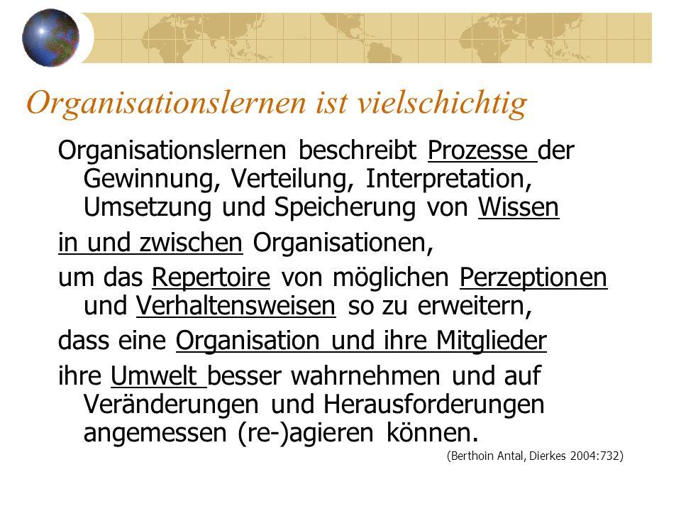 Organisationslernen ist vielschichtig Organisationslernen beschreibt Prozesse der Gewinnung, Verteilung, Interpretation, Umsetzung und Speicherung von