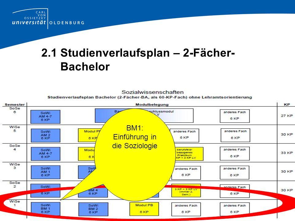 2.1 Studienverlaufsplan – 2-Fächer- Bachelor BM1: Einführung in die Soziologie