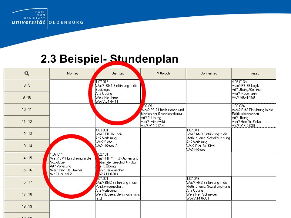 2.3 Beispiel- Stundenplan