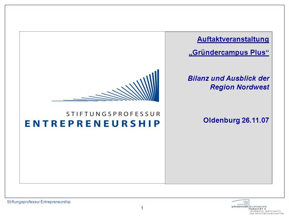 Stiftungsprofessur Entrepreneurship 1 Auftaktveranstaltung Gründercampus Plus Bilanz und Ausblick der Region Nordwest Oldenburg 26.11.07
