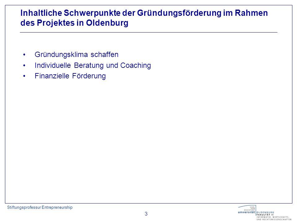 Stiftungsprofessur Entrepreneurship 3 Inhaltliche Schwerpunkte der Gründungsförderung im Rahmen des Projektes in Oldenburg Gründungsklima schaffen Individuelle Beratung und Coaching Finanzielle Förderung