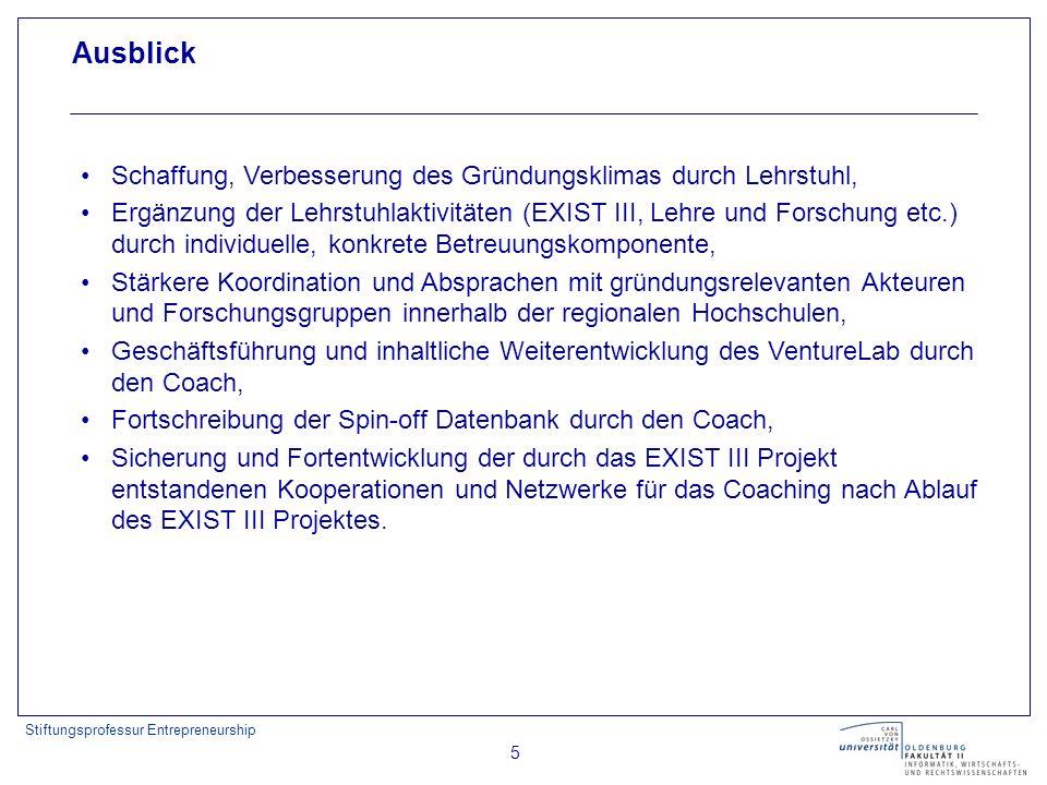 Stiftungsprofessur Entrepreneurship 5 Ausblick Schaffung, Verbesserung des Gründungsklimas durch Lehrstuhl, Ergänzung der Lehrstuhlaktivitäten (EXIST