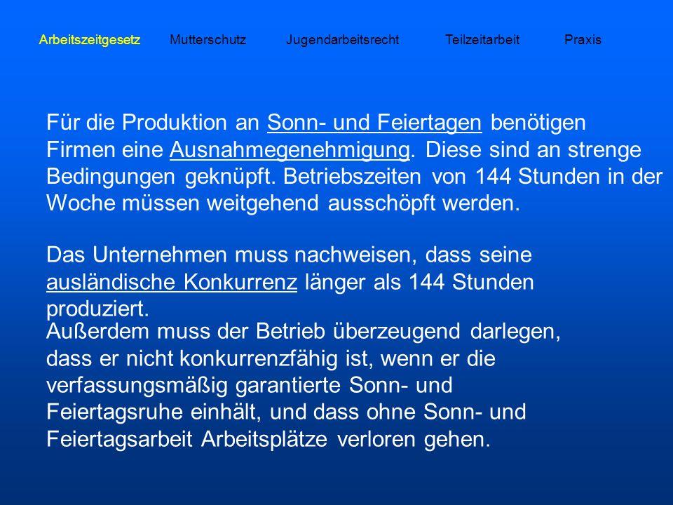 ArbeitszeitgesetzMutterschutzJugendarbeitsrechtTeilzeitarbeitPraxis Für die Produktion an Sonn- und Feiertagen benötigen Firmen eine Ausnahmegenehmigu