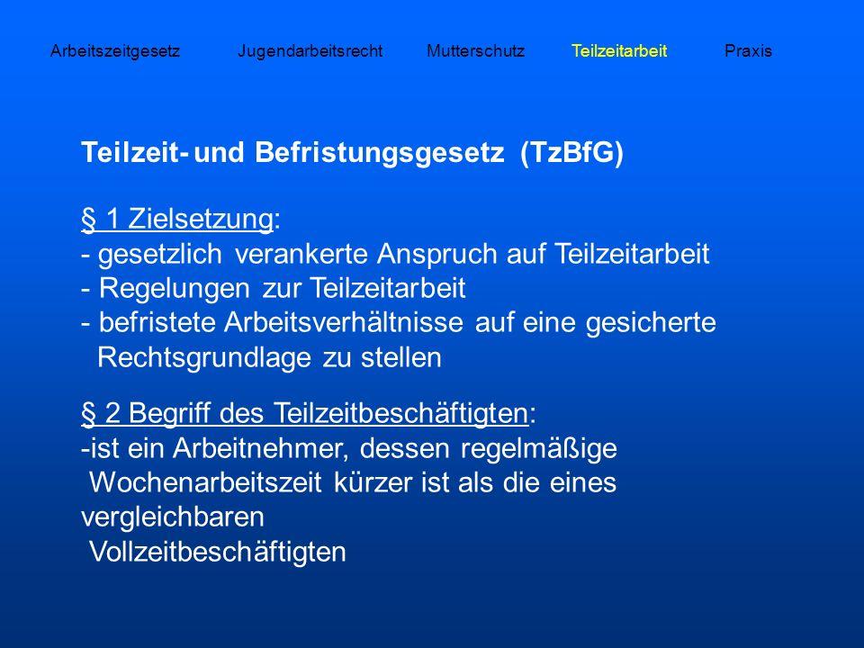 MutterschutzJugendarbeitsrechtTeilzeitarbeitPraxis Teilzeit- und Befristungsgesetz (TzBfG) § 1 Zielsetzung: - gesetzlich verankerte Anspruch auf Teilz