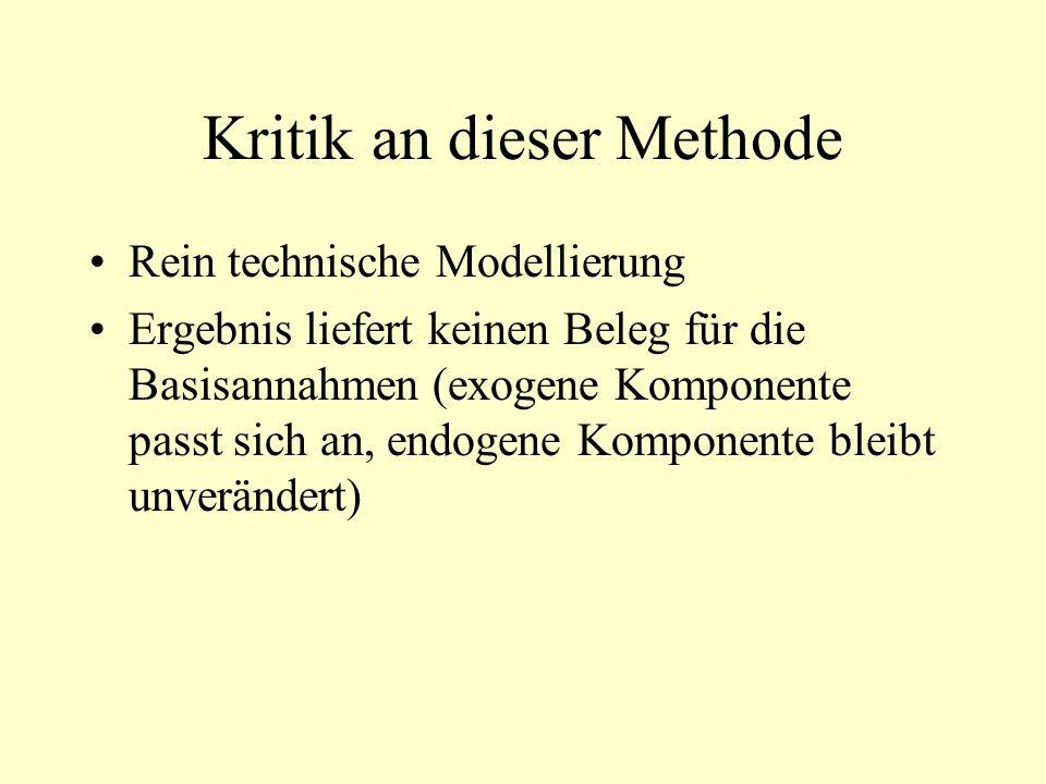 Kritik an dieser Methode Rein technische Modellierung Ergebnis liefert keinen Beleg für die Basisannahmen (exogene Komponente passt sich an, endogene Komponente bleibt unverändert)