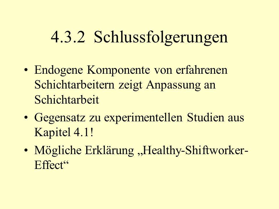 4.3.2 Schlussfolgerungen Endogene Komponente von erfahrenen Schichtarbeitern zeigt Anpassung an Schichtarbeit Gegensatz zu experimentellen Studien aus Kapitel 4.1.