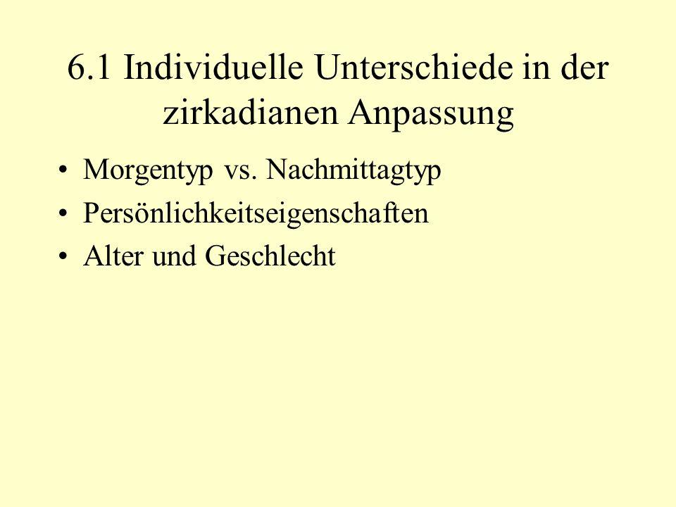 6.1 Individuelle Unterschiede in der zirkadianen Anpassung Morgentyp vs.