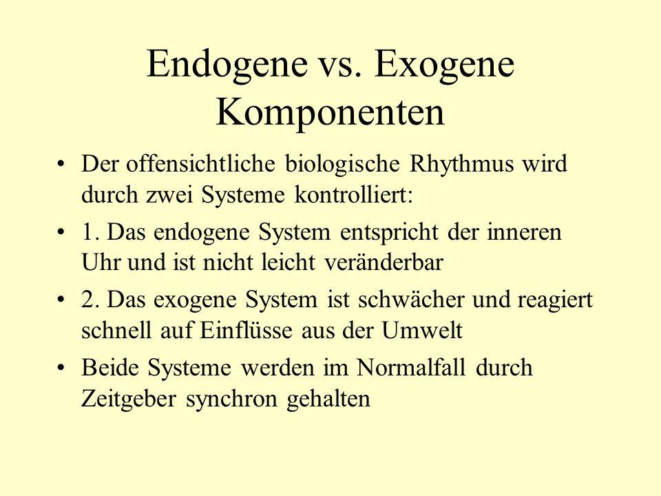 Das endogene Zeitsystem Isoliert man Personen für einen längeren Zeitraum von allen Zeitgebern aus der Umwelt, verändert sich ihr Temperatur- und Schlaf-Wach-Rhythmus Der Rhythmus wird dann als free-running bezeichnet und pendelt sich auf ca.