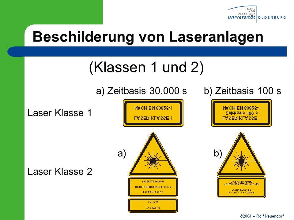 2004 – Rolf Neuendorf Beschilderung von Laseranlagen (Klassen 1 und 2) Laser Klasse 1 Laser Klasse 2 a) Zeitbasis 30.000 sb) Zeitbasis 100 s a)b)