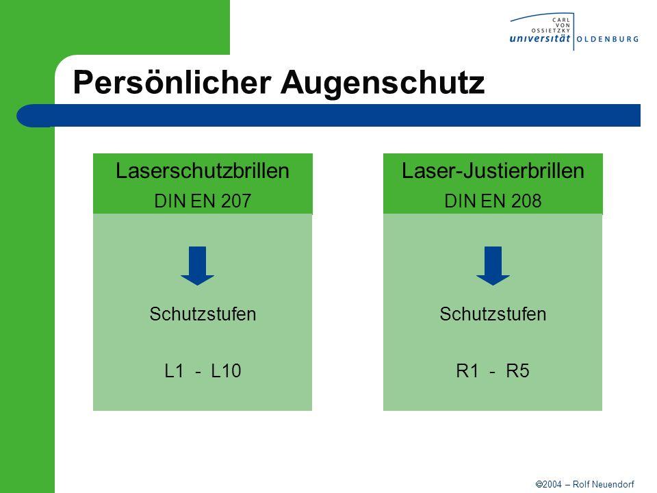 2004 – Rolf Neuendorf Persönlicher Augenschutz Laserschutzbrillen DIN EN 207 Schutzstufen L1 - L10 Laser-Justierbrillen DIN EN 208 Schutzstufen R1 - R