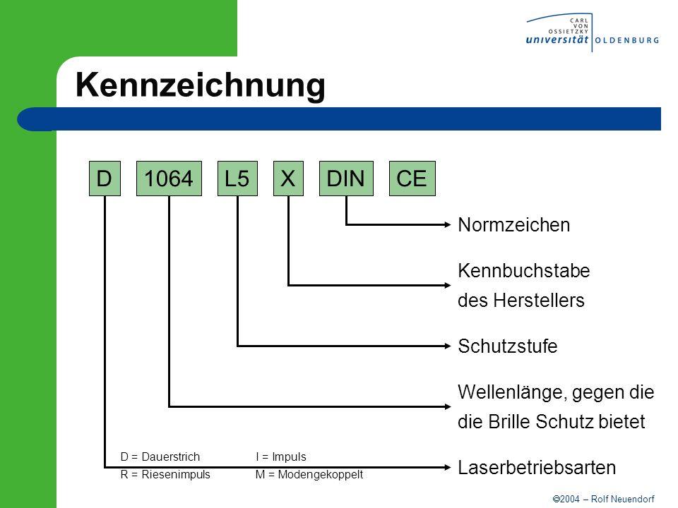 2004 – Rolf Neuendorf Kennzeichnung D1064L5XDINCE Normzeichen Kennbuchstabe des Herstellers Schutzstufe Wellenlänge, gegen die die Brille Schutz biete