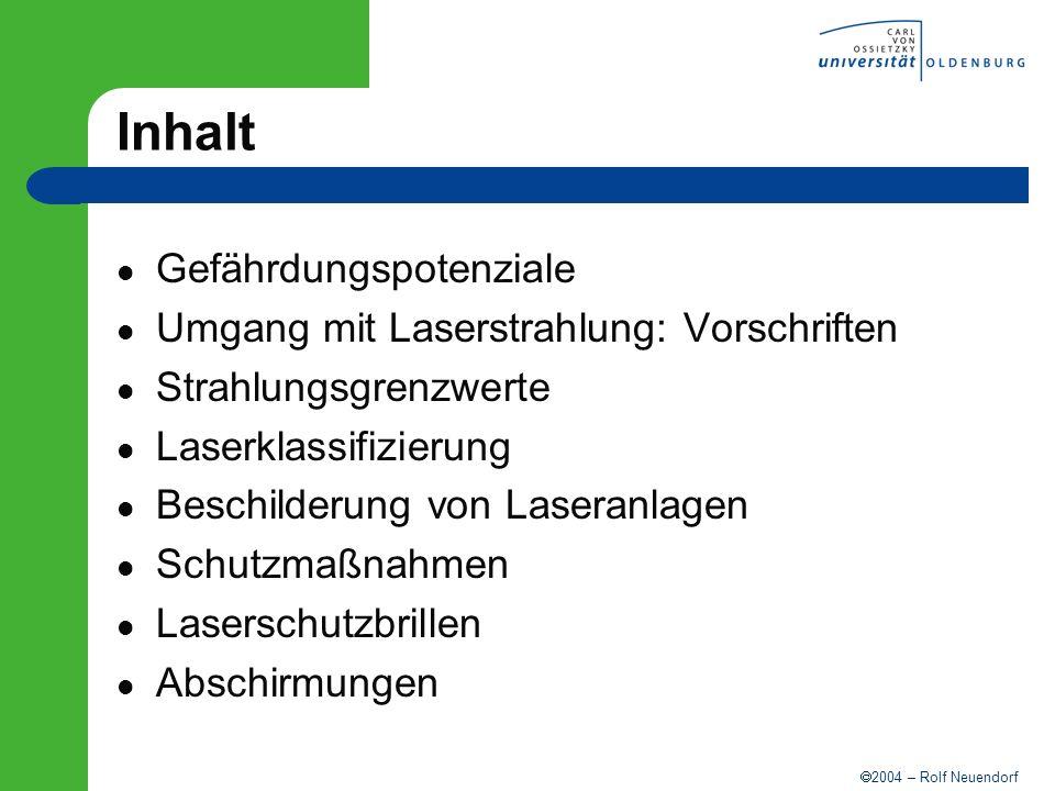 2004 – Rolf Neuendorf Inhalt Gefährdungspotenziale Umgang mit Laserstrahlung: Vorschriften Strahlungsgrenzwerte Laserklassifizierung Beschilderung von