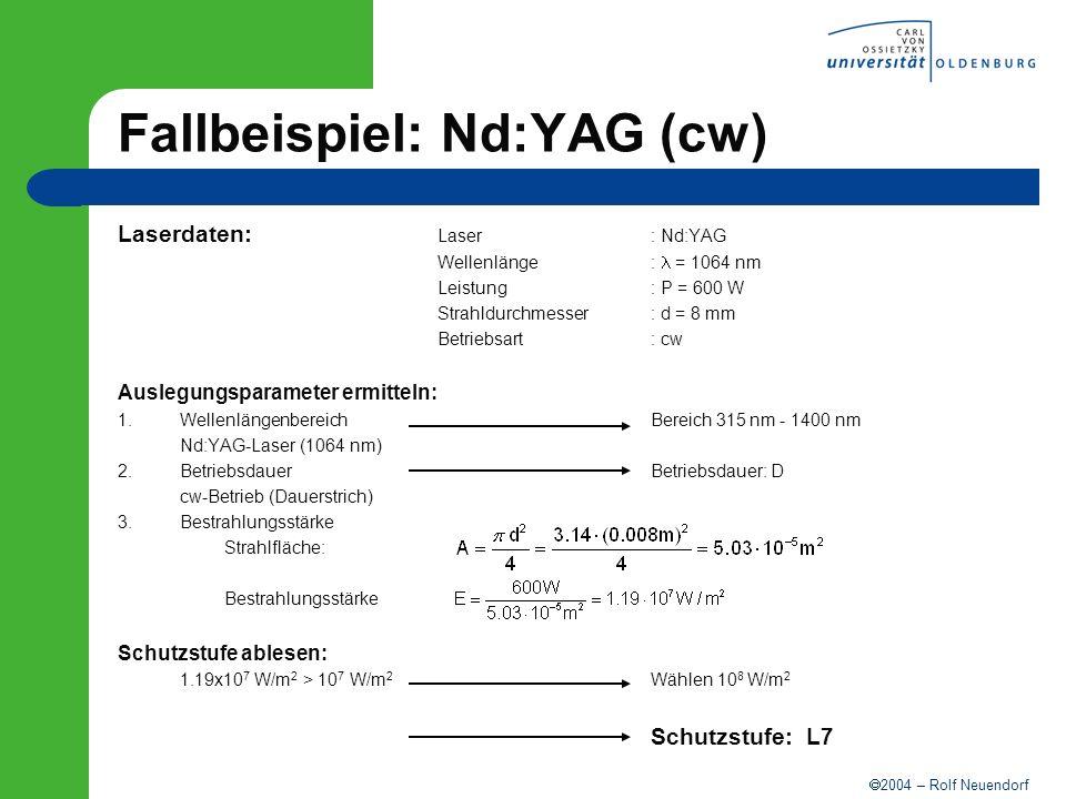2004 – Rolf Neuendorf Fallbeispiel: Nd:YAG (cw) Laserdaten: Laser: Nd:YAG Wellenlänge: = 1064 nm Leistung: P = 600 W Strahldurchmesser: d = 8 mm Betri