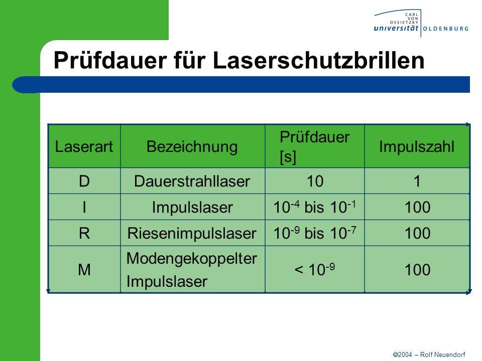 2004 – Rolf Neuendorf Prüfdauer für Laserschutzbrillen LaserartBezeichnung Prüfdauer [s] Impulszahl DDauerstrahllaser101 IImpulslaser10 -4 bis 10 -1 1