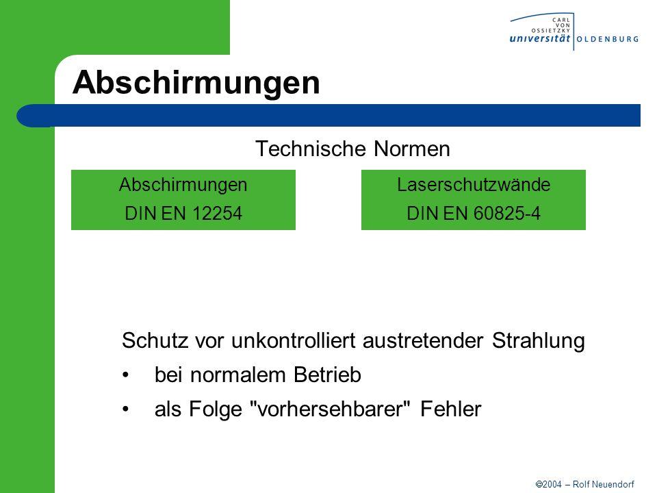 2004 – Rolf Neuendorf Abschirmungen Technische Normen Abschirmungen DIN EN 12254 Laserschutzwände DIN EN 60825-4 Schutz vor unkontrolliert austretende