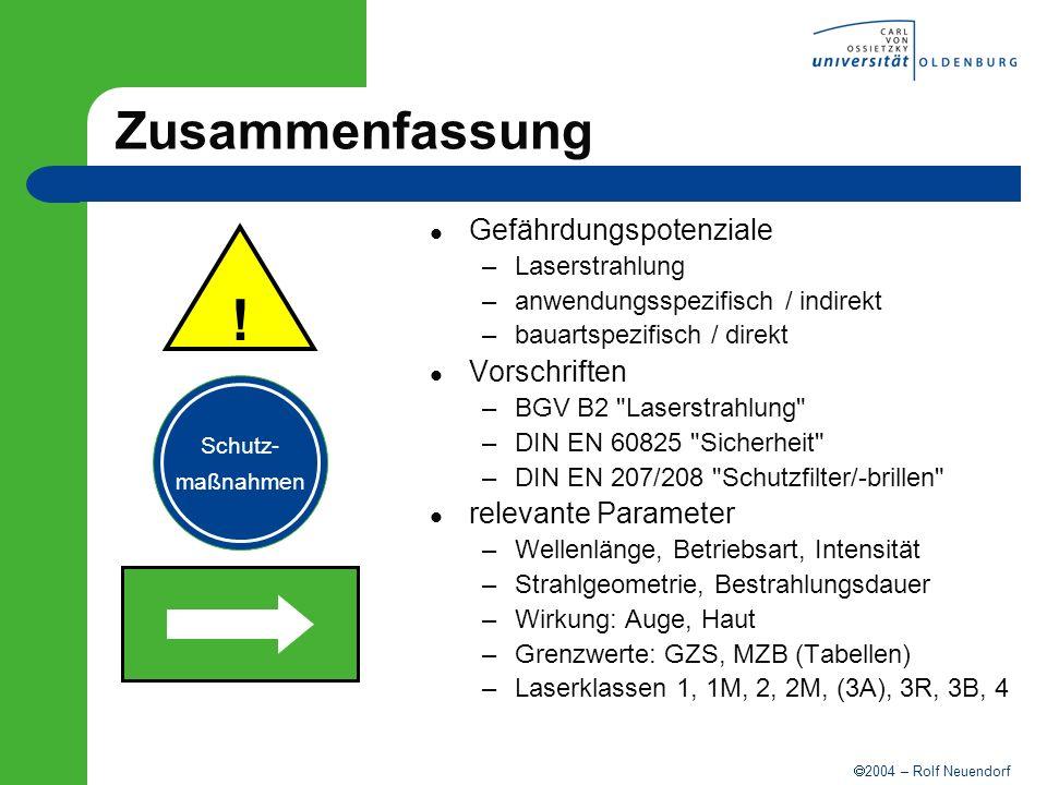 2004 – Rolf Neuendorf Zusammenfassung Gefährdungspotenziale –Laserstrahlung –anwendungsspezifisch / indirekt –bauartspezifisch / direkt Vorschriften –