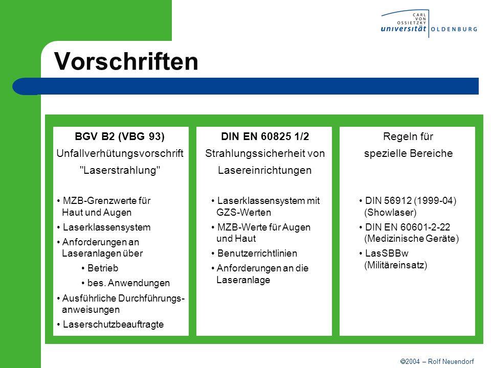 2004 – Rolf Neuendorf Vorschriften DIN EN 12626- Materialbearbeitung ISO 11553-1 DIN EN 207/208- Laserschutzfilter/-brillen DIN EN 61040- Leistungs- und Energie- Meßgeräte
