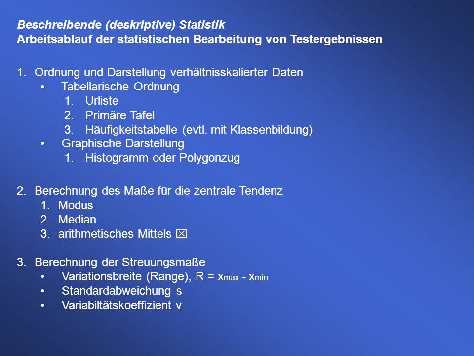 Beschreibende (deskriptive) Statistik Arbeitsablauf der statistischen Bearbeitung von Testergebnissen 1.Ordnung und Darstellung verhältnisskalierter D