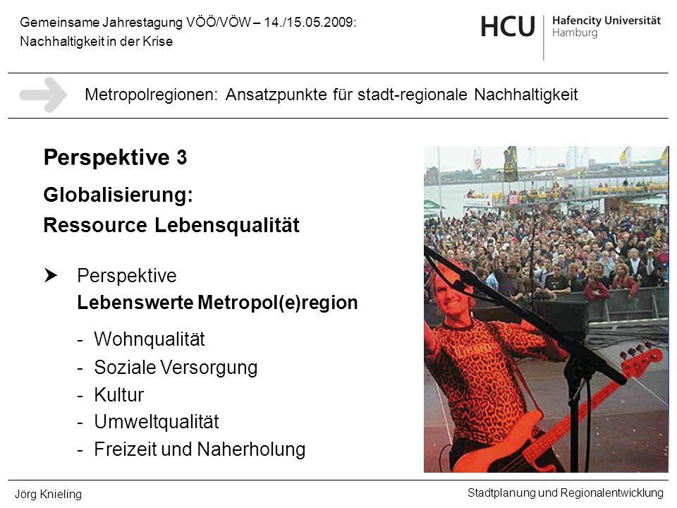 Gemeinsame Jahrestagung VÖÖ/VÖW – 14./15.05.2009: Nachhaltigkeit in der Krise Stadtplanung und Regionalentwicklung Jörg Knieling Perspektive 3 Globali